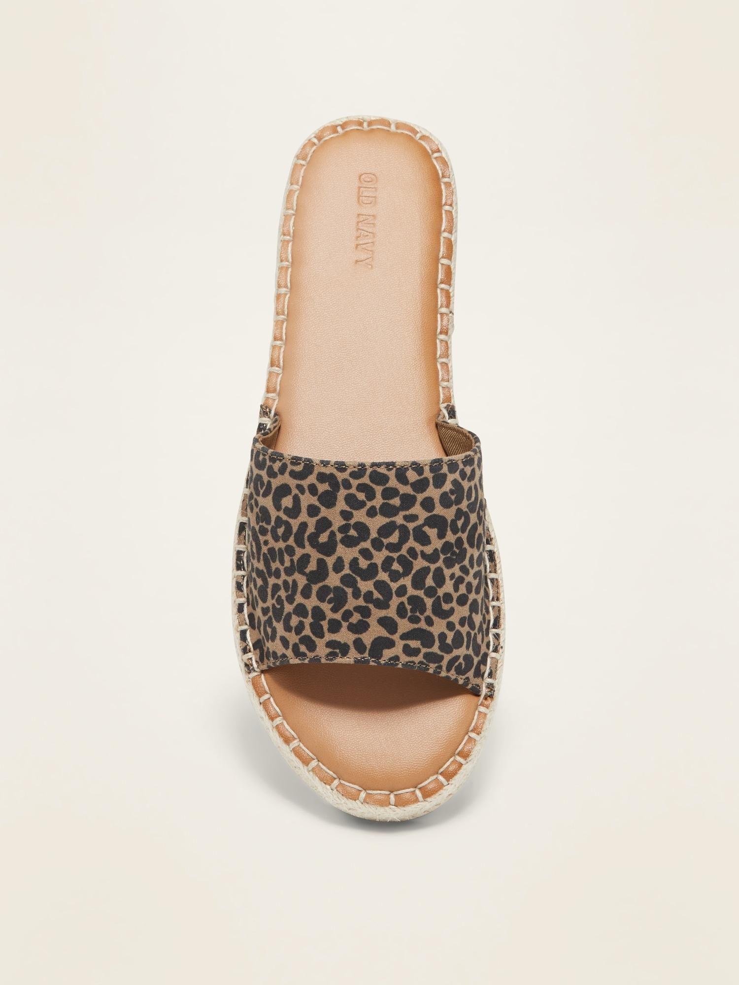 Faux-Suede Espadrille Slide Sandals for