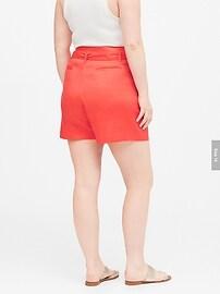 """Linen-Cotton Paperbag Waist 4"""" Short"""