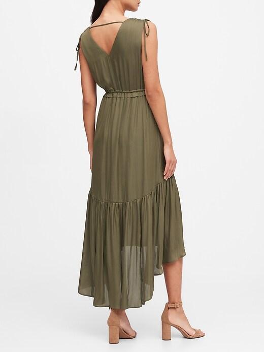 Satin Ruched Maxi Dress