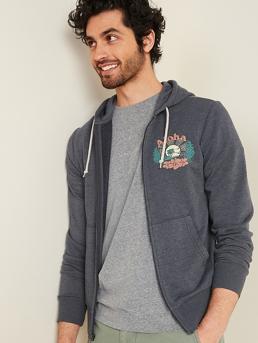 """Aloha"" Graphic French Terry Zip Hoodie for Men"