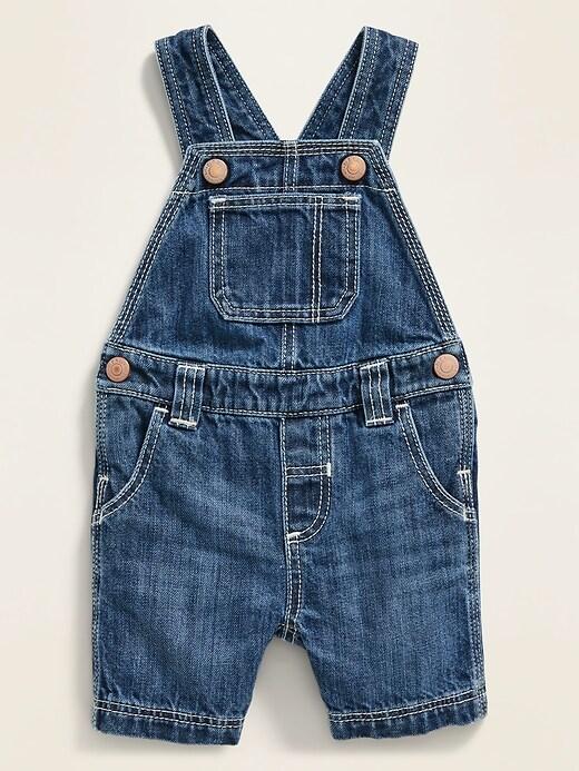 Dark-Wash Jean Shortalls for Baby
