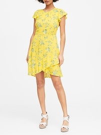 ECOVERO&#153 Flutter-Sleeve Mini Dress