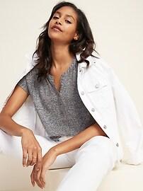 Loose Linen-Blend Jersey Henley Top for Women
