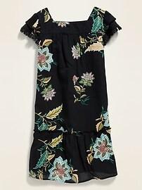 Ruffle-Sleeve Tassel-Trim Dress for Girls