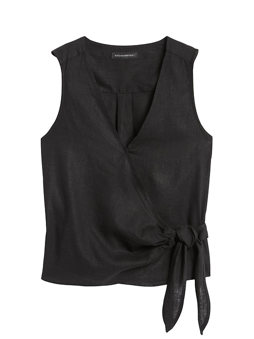 Petite Linen-Cotton Wrap Top