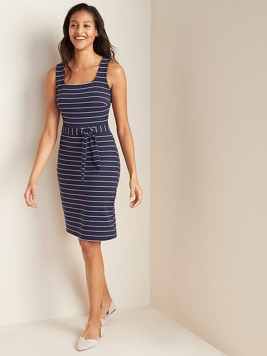 Sleeveless Ponte-Knit Tie-Belt Sheath Dress for Women