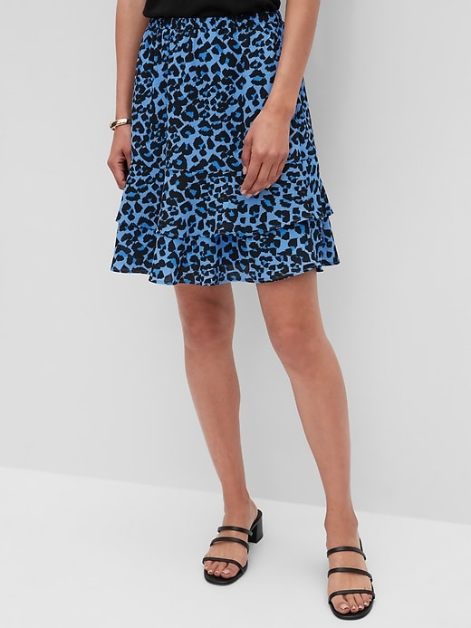 Petite Flounce-Hem Fit-and-Flare Skirt
