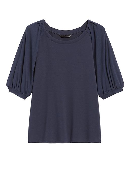 Petite Sheer-Sleeve Top