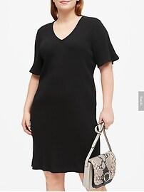 Petite Ribbed V-Neck T-Shirt Dress