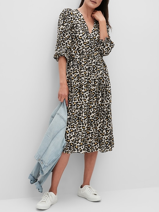 Puff-Sleeve Midi Dress