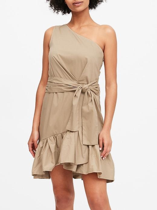 One-Shoulder Poplin Mini Dress