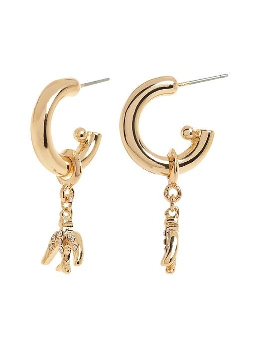 Bird Charm Hoop Earrings
