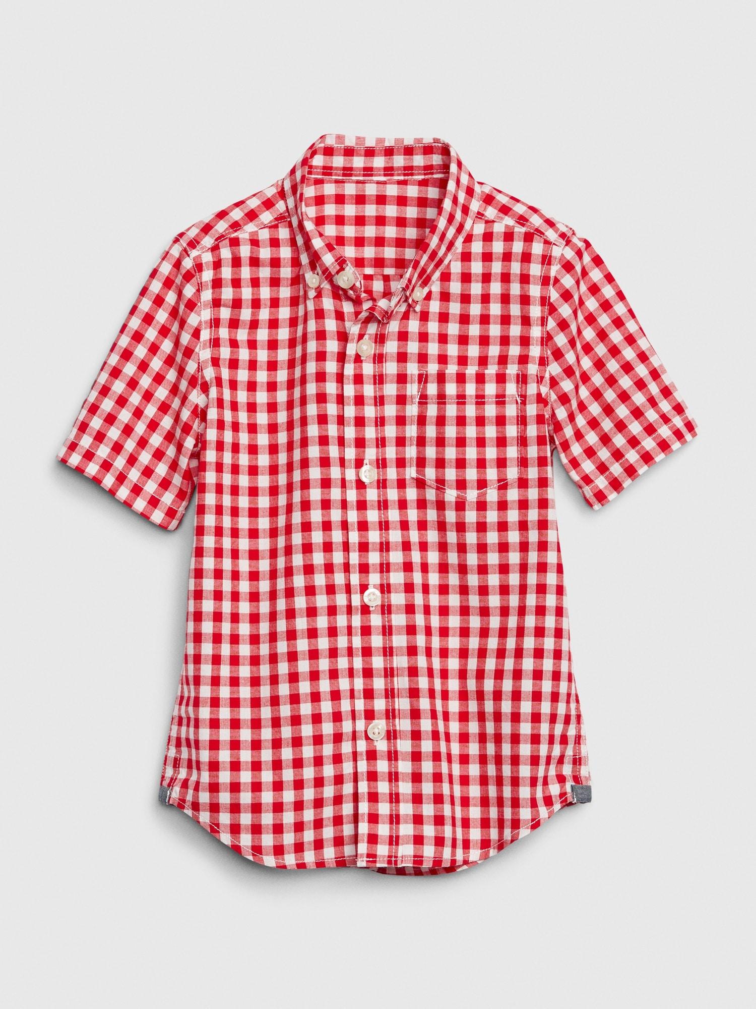 ポプリンチェック ボタンダウンシャツ (幼児)