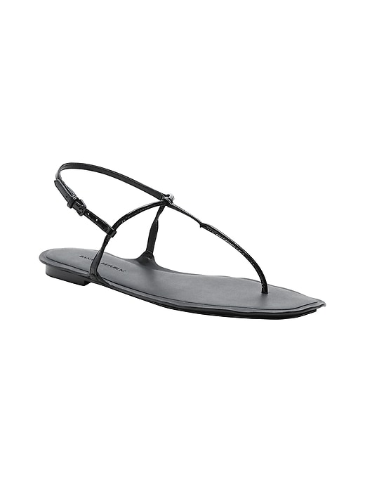 Leather Skinny T-Strap Thong Sandal