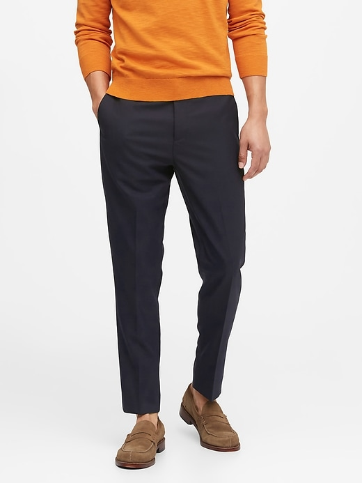 Slim Tapered Washable Wool-Blend Pant
