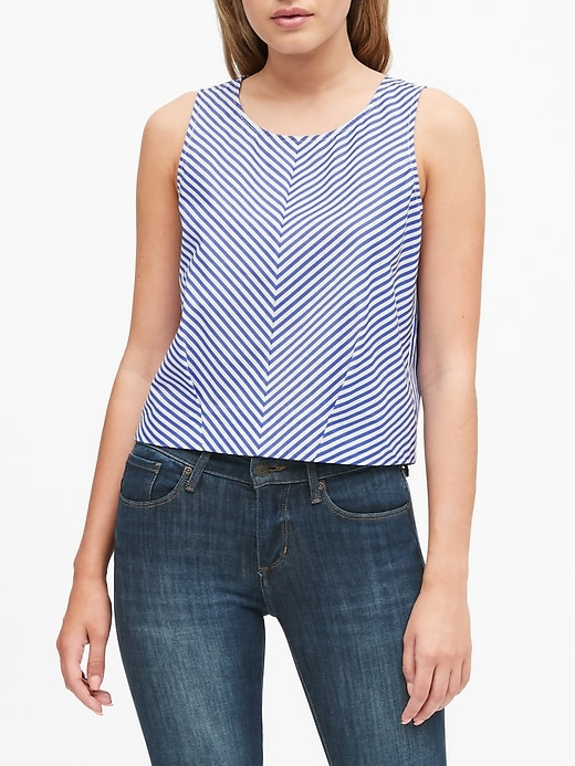 Stripe Poplin Cropped Shell