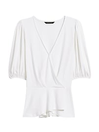 Puff-Sleeve Wrap-Effect Top