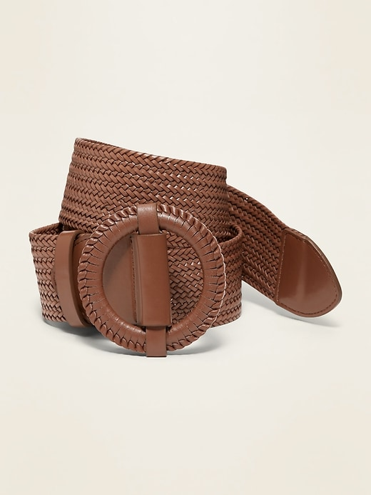 """Wide Braided Faux-Leather Belt for Women (2"""")"""