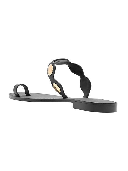 Embellished Leather Toe-Ring Sandal