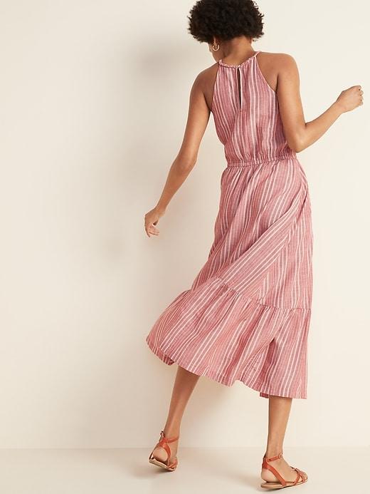 Waist-Defined Braided-Strap Dobby Stripe Maxi Sundress for Women
