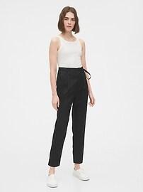 Paperbag-Waist Khaki Pants