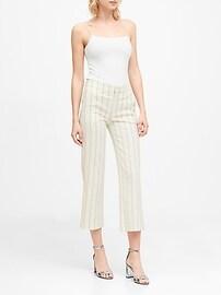 Slim Wide-Leg Stripe Cropped Pant
