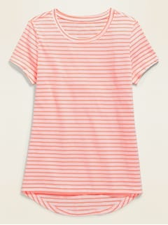 NWT OLD NAVY GIRLS SHIRT TOP softest tee  blue white stripes    you pick size