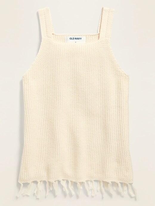 Sleeveless Crochet-Knit Top for Girls