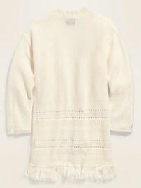 Fringe-Hem Open-Front Sweater for Girls