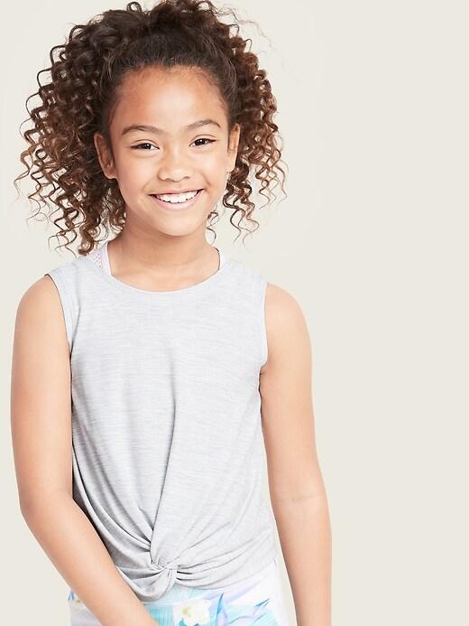 Ultra-Soft Breathe ON Go-Dry Twist-Hem Tank Top for Girls