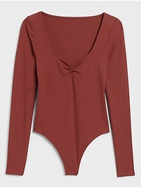 Ribbed V-Neck Thong Bodysuit