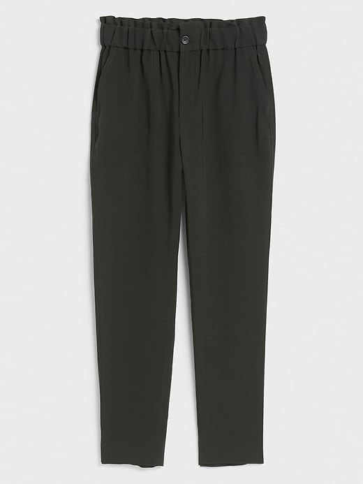 Paperbag-Waist Pull-On Ankle Pant