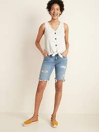 Cropped Tie-Hem Textured-Knit Sleeveless Top for Women