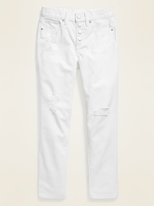 Built-In Tough Distressed Button-Fly White Boyfriend Jeans for Girls