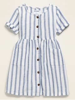 Oldnavy Fit & Flare Button-Front Striped Dress for Toddler Girls