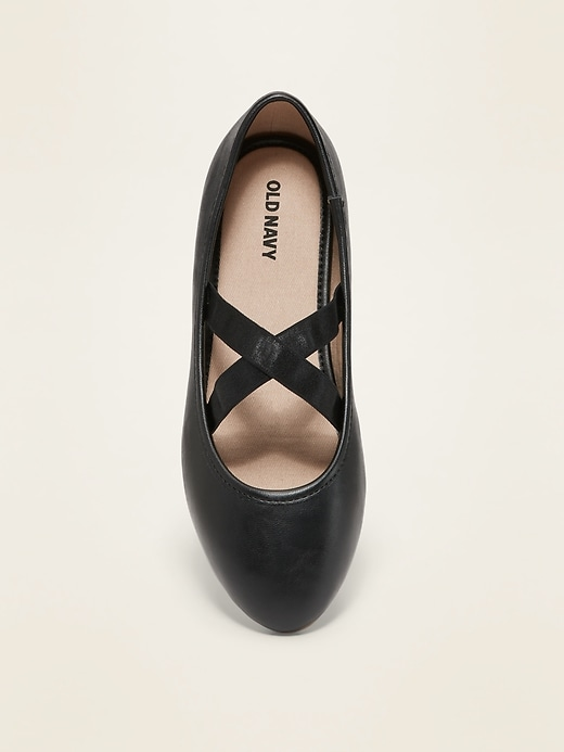 Faux-Leather Uniform Ballet Flats for Girls