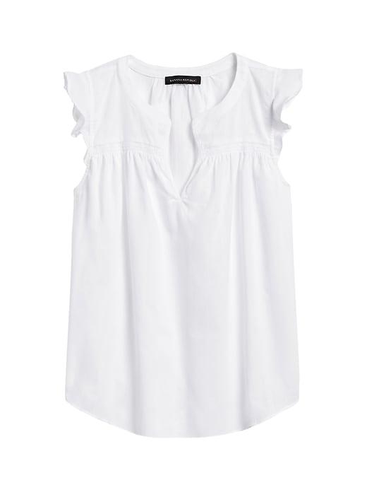 Petite Cotton Ruffle-Sleeve Top