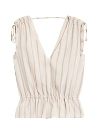Petite Ruched Cropped Peplum Top