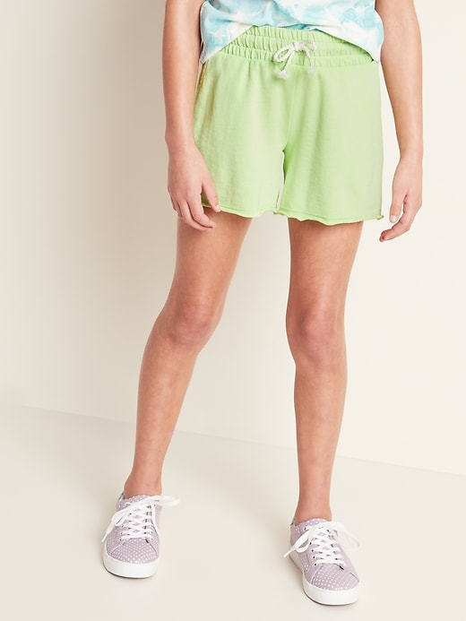 Raw-Edged French Terry Midi Shorts for Girls