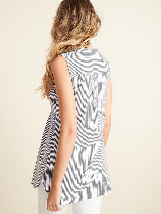 Maternity Striped Sleeveless Tie-Belt Tunic Top