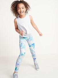 Mid-Rise Go-Dry Elevate 7/8-Length Mesh-Trim Leggings for Girls