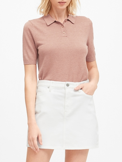 Petite Linen-Blend Sweater Polo