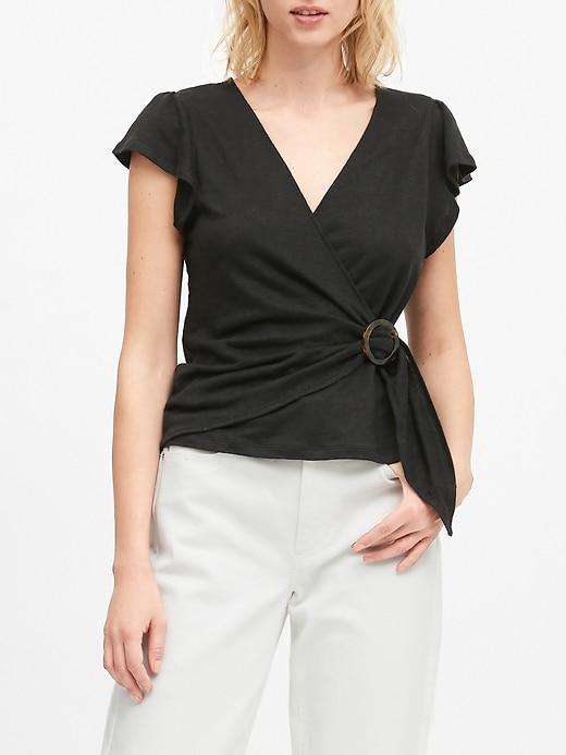 Petite Linen Wrap-Front Top
