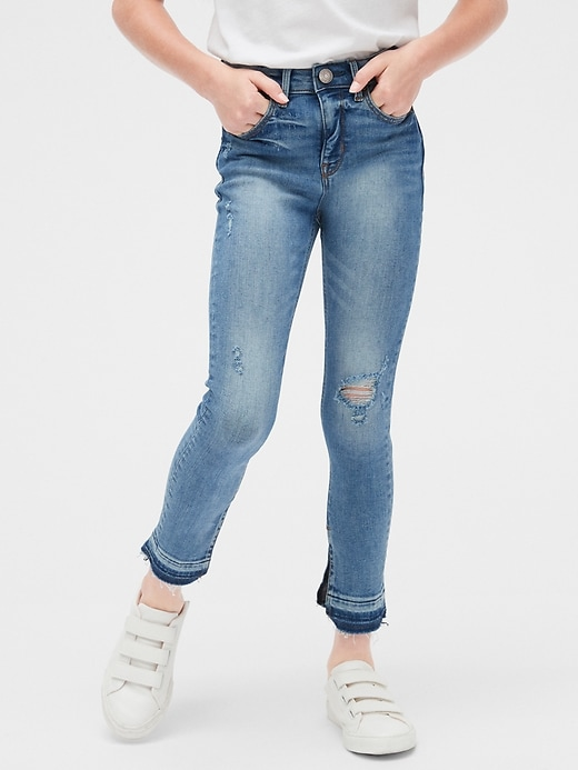Kids High Rise Destructed Ankle Jeggings with Stretch