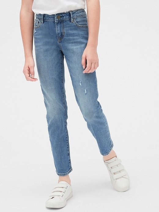Kids Distressed Straight Jeans with Stretch
