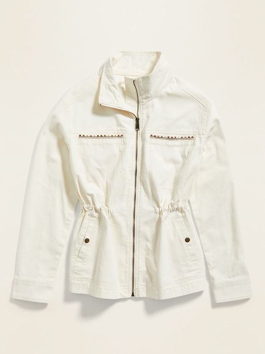 Embroidered Canvas Utility Zip Jacket for Women