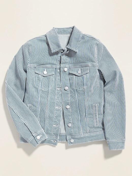 Railroad-Stripe Jean Jacket for Women