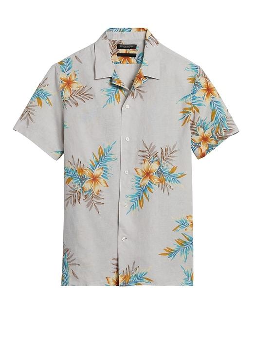 Slim-Fit Linen-Cotton Resort Shirt