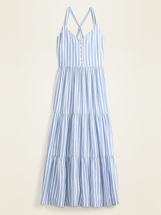Striped Fit & Flare Tiered Maxi Sundress for Women