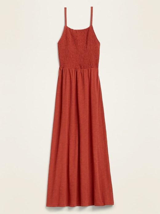Smocked-Top Slub-Knit Maxi Sundress for Women